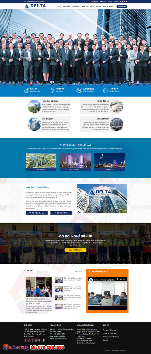Mẫu website xây dựng Delta Corp TW114